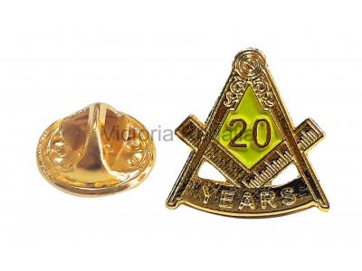 Freemasons Masonic 20 YEAR Lapel Pin