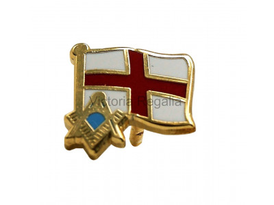 Freemasons England Flag and Masonic Symbol S&C Lapel Pin