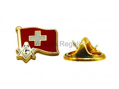 Freemasons Switzerland Flag Masonic Lapel Pin