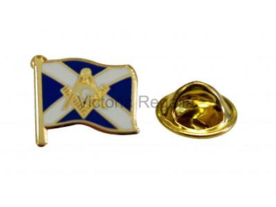 Scottish Flag and Masonic Square Compass and G Symbol Freemason Lapel Pin
