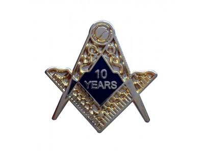 10 Years Freemason Masonic Lapel Pin