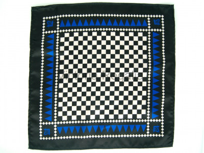 Masonic Chequered Pocket Square with Square, Compass and G Symbol (Royal Blue)