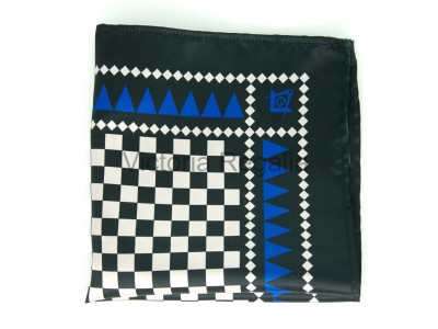 Masonic Chequered Pocket Square with Square, Compasses and G Symbol (Royal Blue)
