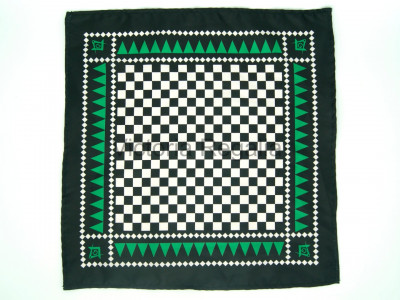 Masonic Chequered Pocket Square with Square, Compass and G Symbol (Green)