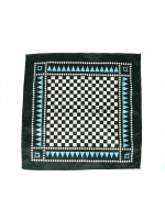 Masonic Chequered Pocket Square with Square and Compass Symbol (Light Blue)