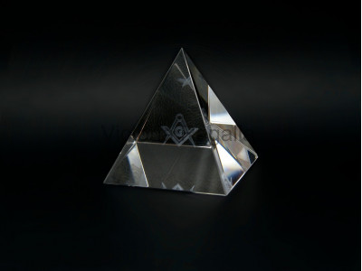 Freemasons Paperweight Glass Pyramid with 3D Engraved Square and Compasses with G