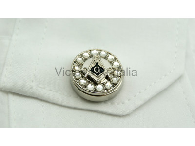 Freemasons Silver Cuff Button Cover with Masonic Square, Compass and G (Pair)