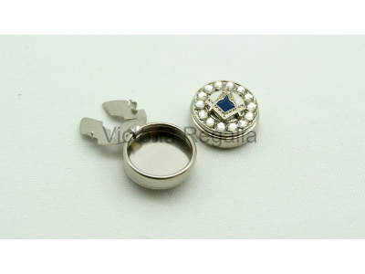 Freemasons Silver Cuff Button Cover with Masonic Square and Compass (Pair)