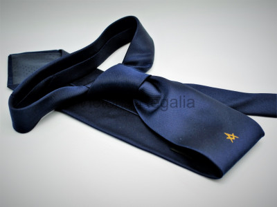 Navy Tie with Gold Square and Compasses