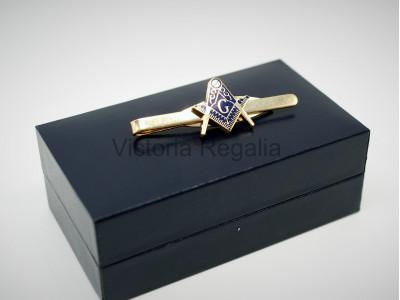 Masonic Square, Compass and G  Freemasons Tie Slide - Blue