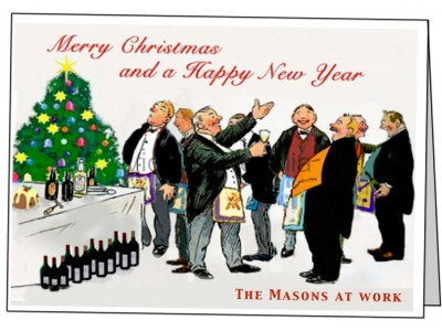 Pack of 5 Different Christmas Greeting Cards with Masonic Humour (Landscape)