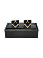 Masonic Cuff Links - Navy Blue and Gold - Square & Compass