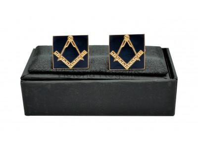 Masonic Square and Compass Freemasons Cufflinks - Navy Blue and Gold