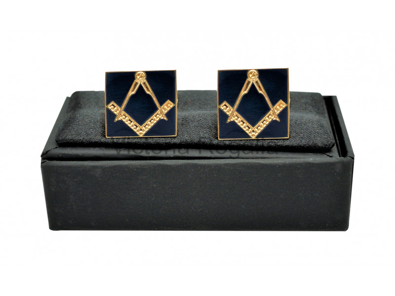 Masonic Cuff Links - Navy Blue and Gold - Square &