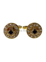 Masonic Square and Compass Freemasons Cufflinks - Black and Gold with Rhinestones