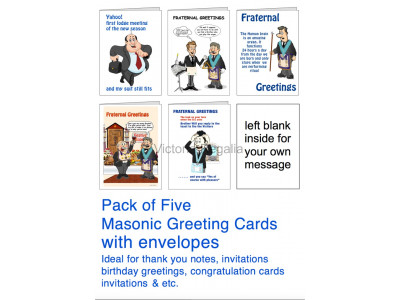 Pack of 5 Different Greeting Cards with Masonic Humour (Portrait)