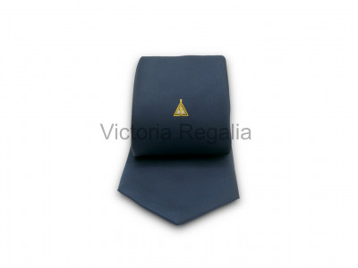 Navy Blue Tie with Woven Cryptic Masonic Emblem