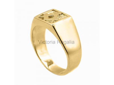 Masonic 9ct Gold Signet Ring with Square and Compass Symbol