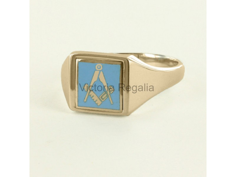 Masonic Gold Plated Silver Square and Compass Ring with
