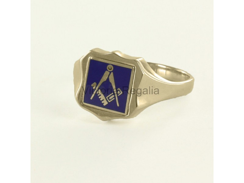 Masonic Gold Plated Silver Square and Compass Ring with Reversible Shield  Head (Blue)