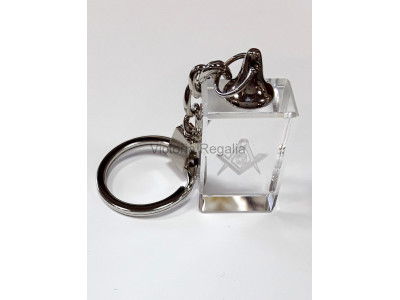 Masonic Keyring with engraved Square, Compass and G Symbol