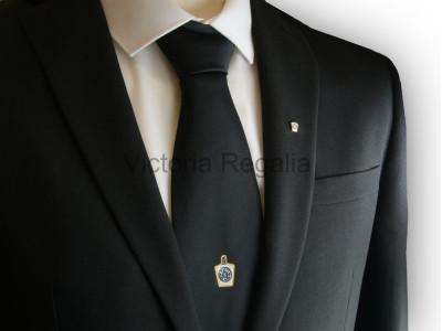 Black Tie with Woven White Masonic Mark Emblem