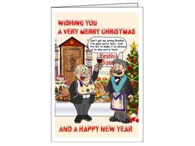 Pack of 5 Different Christmas Greeting Cards with Masonic Humour (Portrait)