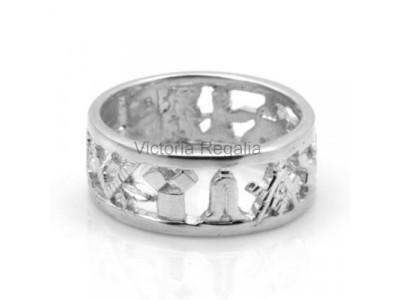 Masonic Solid Silver Pierced Design Wedding Ring
