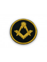 Masonic Badge - Square and Compasses Stitch-On Patch Hand Embroidered in Gold Bullion Wire
