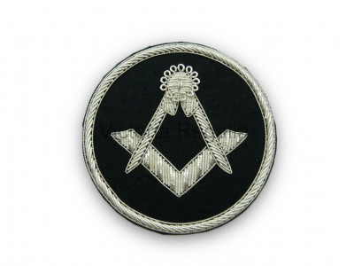 Masonic Badge - Square and Compasses Stitch-On Patch Hand Embroidered in Silver Bullion Wire