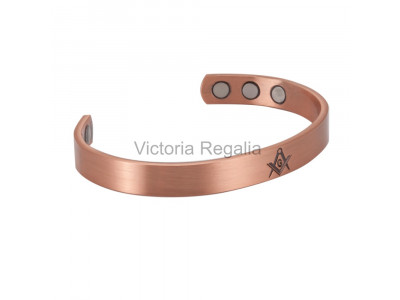 Copper with Magnets Bracelet Deep Engraved with the Masonic Square, Compasses and G Symbol - Health Benefits