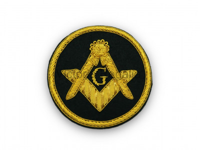 Masonic Badge - Square and Compasses with G Stitch-On Patch Hand Embroidered in Gold Bullion Wire