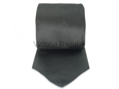 Black Square and Compasses and G Tie with Discreet Pattern Design