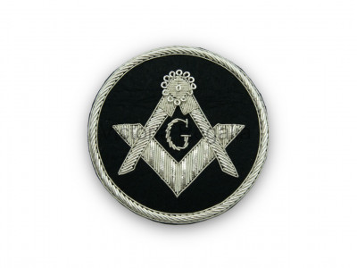 Masonic Badge - Square and Compasses with G Stitch-On Patch Hand Embroidered in Silver Bullion Wire