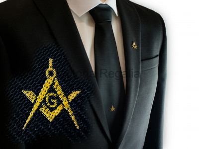 Black tie - Gold Square and Compass & G