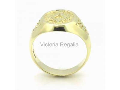 Masonic 9ct Gold Signet Ring with Acacia Leaf Design