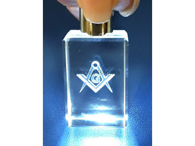 Masonic Keyring with Torch, and the Square, Compass and G Symbol