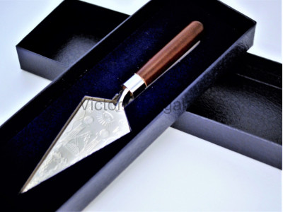 Masonic Trowel with Engraved Square and Compasses and Symbols - Gold or Silver