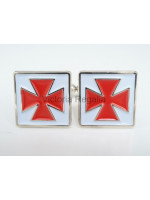 Masonic Nordic Cross Silver Cufflinks with Red and White Enamel