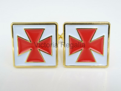 Masonic Nordic Cross Golden Cufflinks with Red and White Enamel