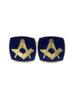Masonic Square and Compasses Freemasons Cufflinks - Navy Blue and Gold