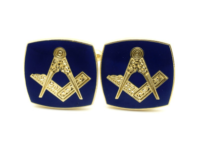 Masonic Square and Compasses Freemasons Cufflinks - Navy Blue and Gold