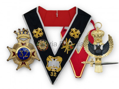 32nd Degree Full Set: Collarette with Eagle Jewel, and Collar with Star Jewel - English Constitution