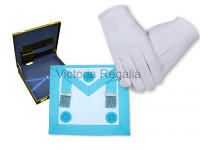 Set of Master Mason Apron with Gloves and flat Hard Case