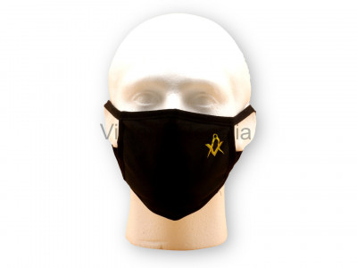 Freemasons Face Mask with Masonic Square and Compasses