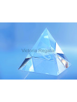 Freemasons Paperweight Glass Pyramid with 3D Engraved Eye of Horus