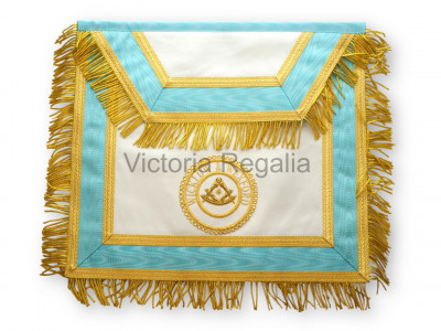 Provincial Apron sky blue with Gold Lace - Hand Embroidered Badge-Irish Constitution