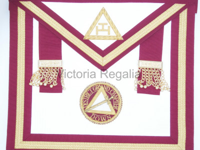 Irish Royal Arch Officers Apron with gold lace and white tau - Irish Constitution