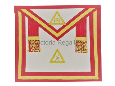 Irish Royal Arch Officers Apron with gold lace and white tau - embroidered emblem of office