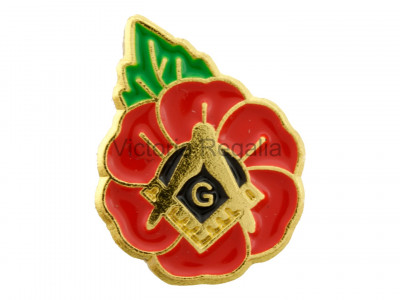 Masonic Poppy with Square, Compass and 'G' Lapel Pin